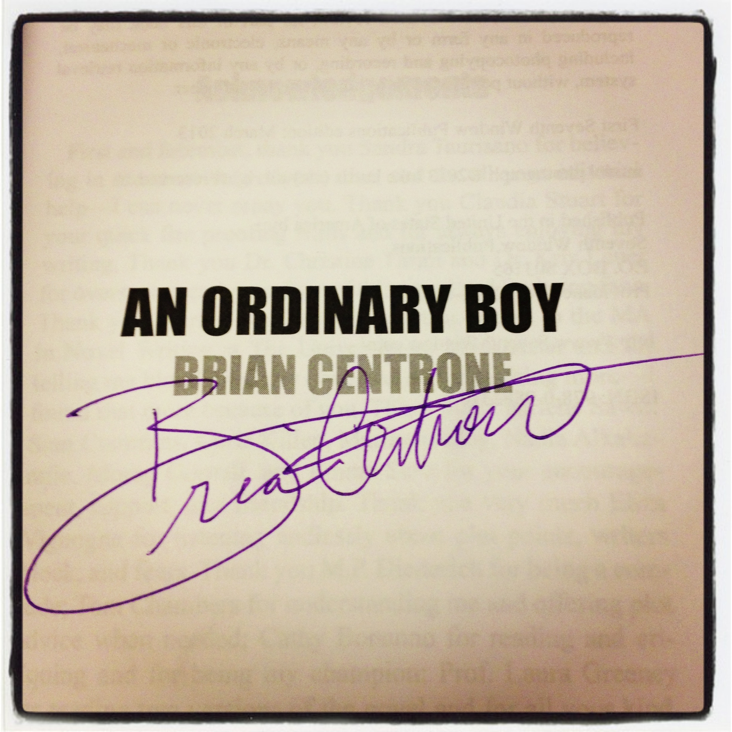 Signed Copy of An Ordinary Boy